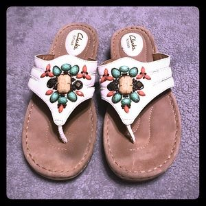 Clark Sandals with stone embellishments